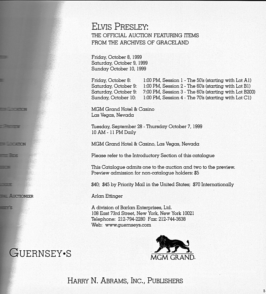 Auction catalog page from front of book