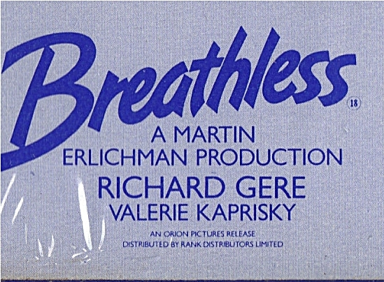 Breathless album cover showing ORION PICTURES production