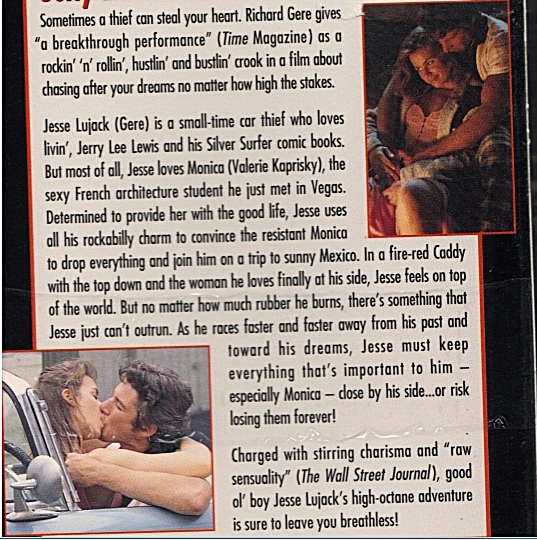 Breathless video back cover showing Jesse running from his past