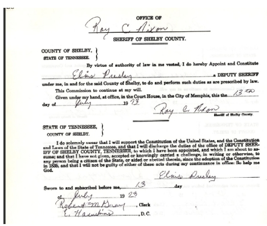 Elvis document from Sherriff of Shelby county