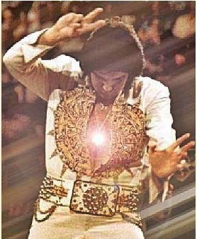 Elvis leaving stage in 1977 holding up two fingers as seen on cover of his book