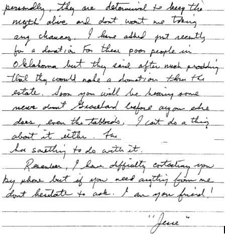 Excerpt from Jesse's letter to Hinton about auction bottom of page 2
