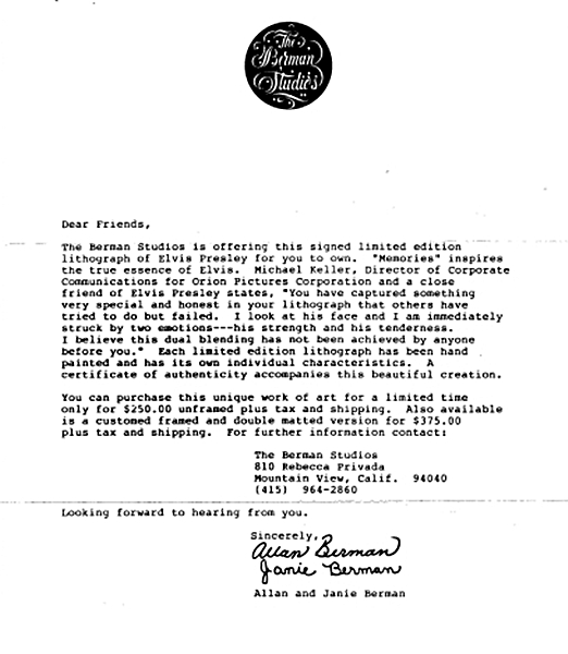 Full copy of letter mentioning a friend of Elvis who was with Orion Pictures