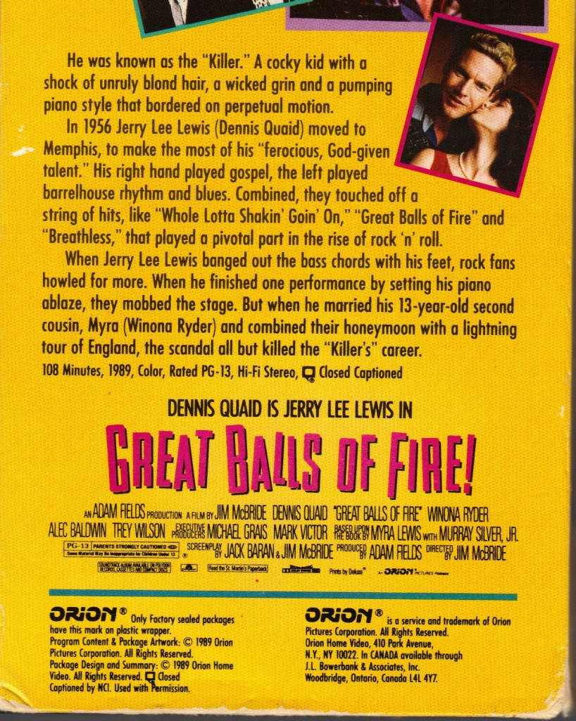 Great Balls of Fire back cover VHS 1989