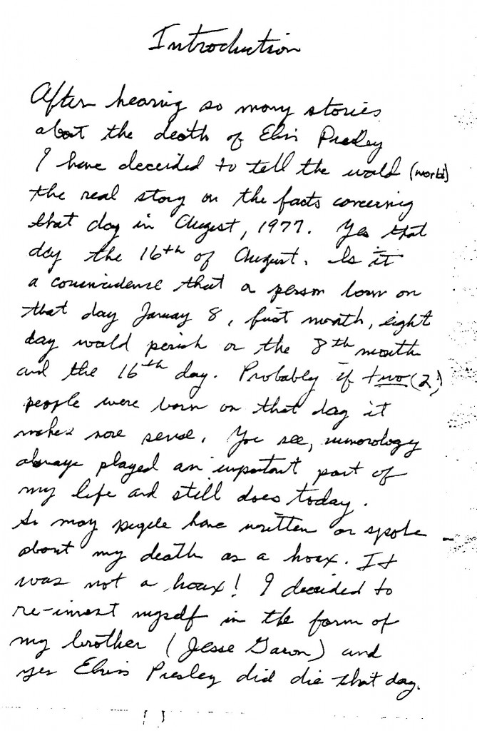 Jesse's handwritten introduction to book page 1