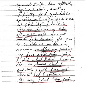 Jesse's letter early about writing the book for after his passing to publish