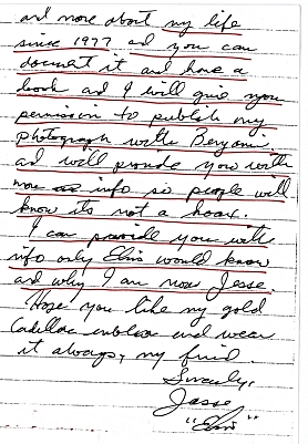 Jesse's letter mentioning being Jesse now