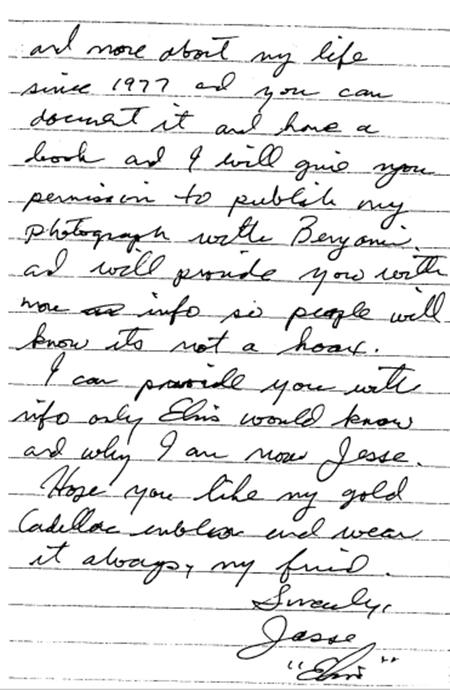 Jesse's letter for the book giving permission to use his photo with Benjamin