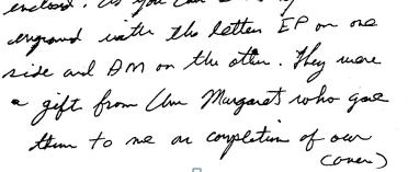 Jesse's letter to Hinton at Christmas about cuff link...top of page 1 bottom of page