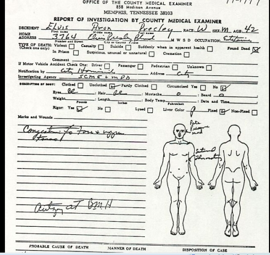 Medical Examiner's death report page 1