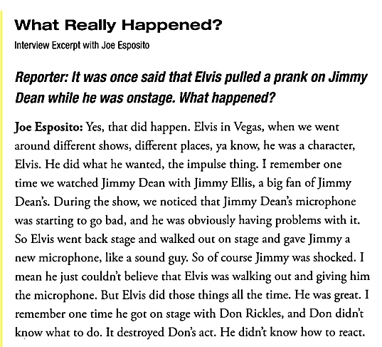 Page from Joe Esposito's book re Jimmy Ellis