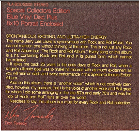 Don Tweedy statement on the back of THE KILLER, THE KING album