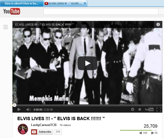 Lucky Carson on YouTube showing ELVIS FOUND ALIVE for free.