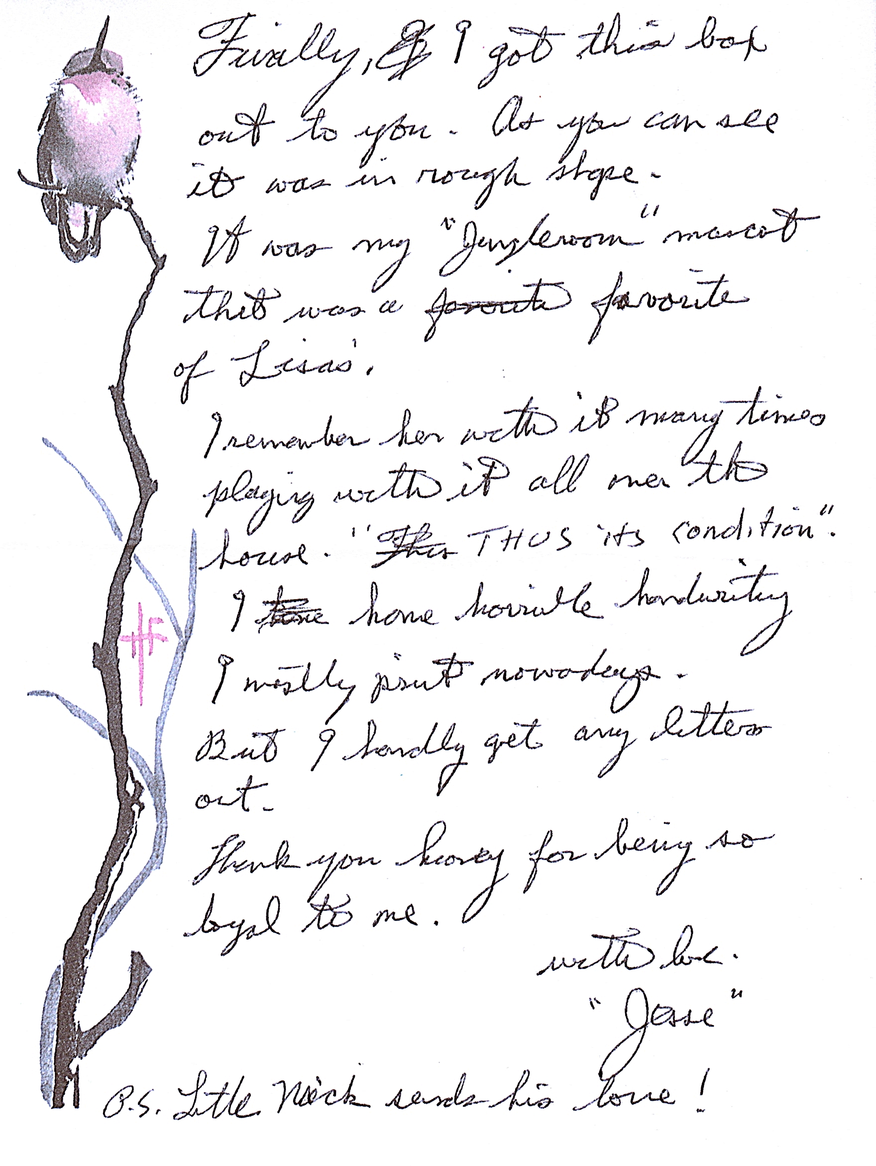 Jesse's letter which accompanied the tiger