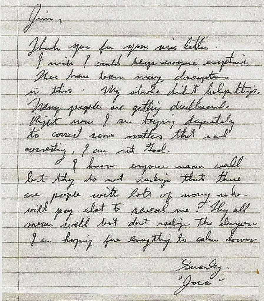 Jesse's letter to Jim