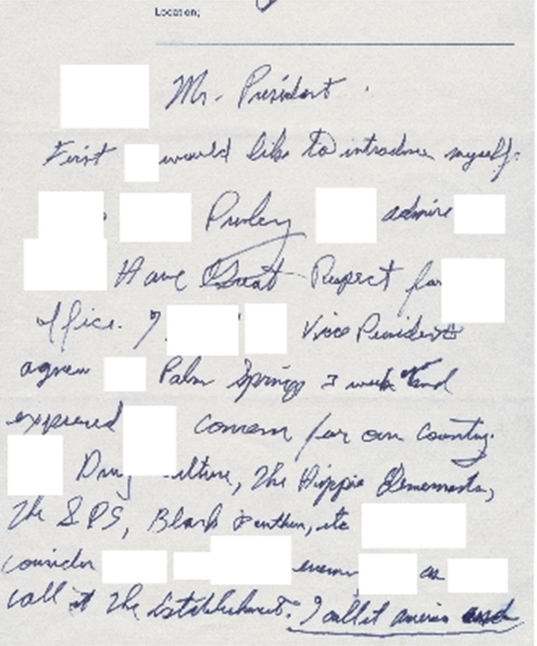 Beth's handwriting from Elvis' letter to Pres. Nixon