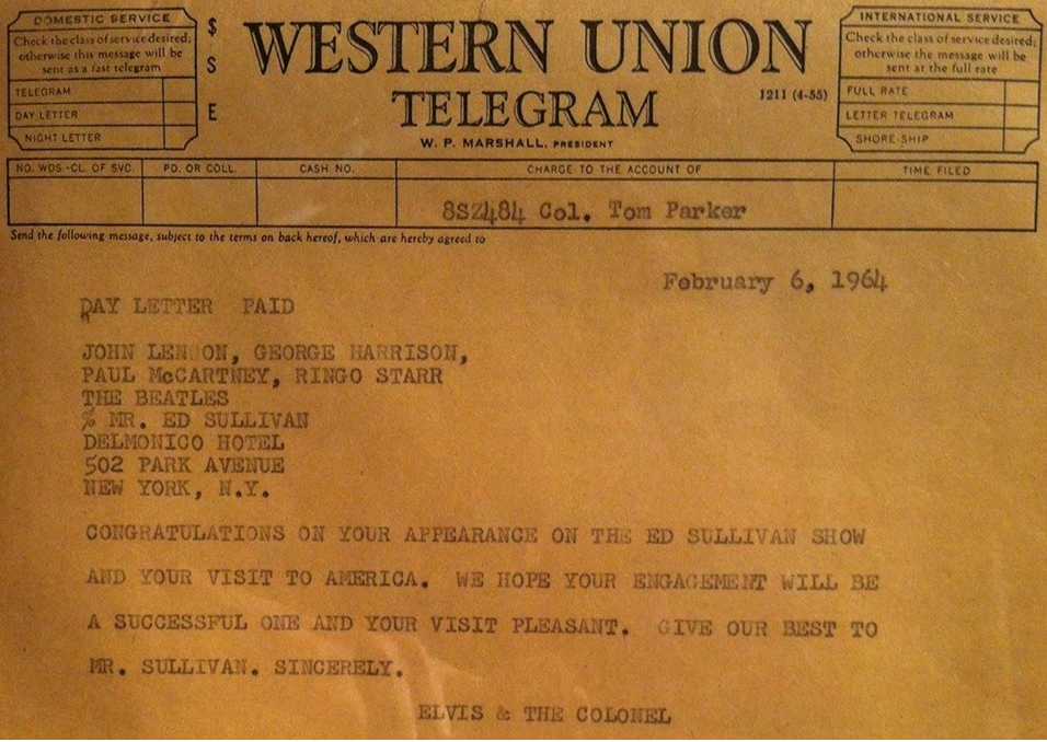 Elvis and Col. Parkers telegram to the Beatles