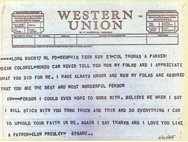 Elvis Western Union message to Col. Parker in 1955