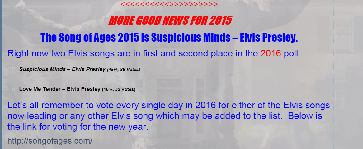 Heading for pages - Vote for Elvis song of ages 2016