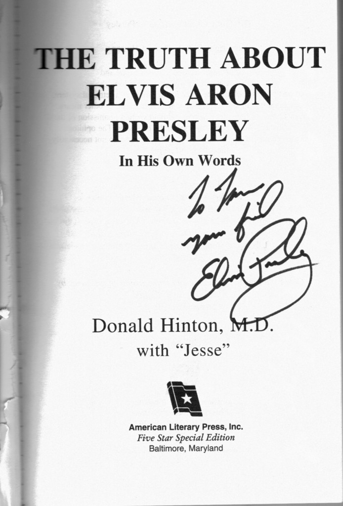 Autographed copy of Jesse's book for Tom