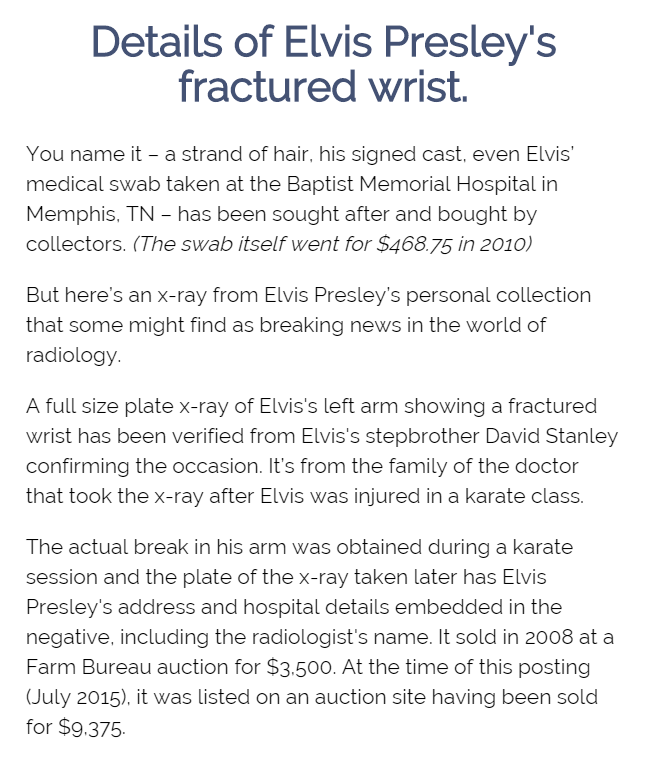 Elvis Presley s wrist X Ray  article