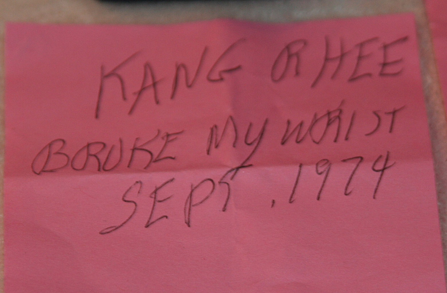 Jesse's note about Kang Rhee breaking his wrist in Sept. 1974