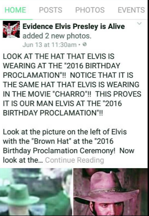 Evidence Elvis is Alive posted fake photo of Elvis from 2016 birthday