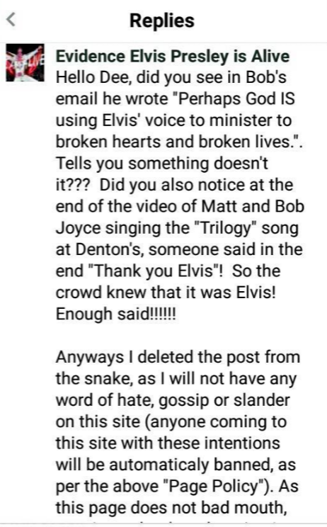 Evidence Elvis is Alive posted negative reply about Pastor Bob Joyce's own Email.