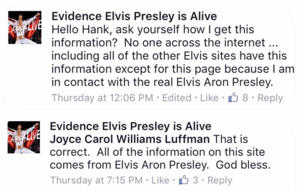 Evidence Elvis is Alive posted that he is in touch with Elvis