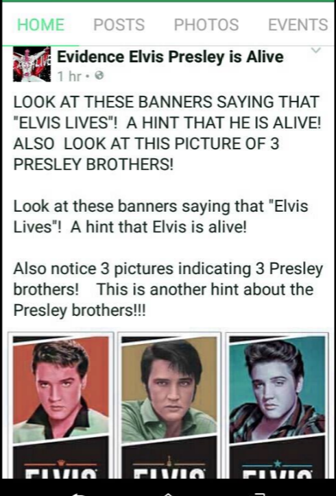 from Evidence Elvis is Alive page